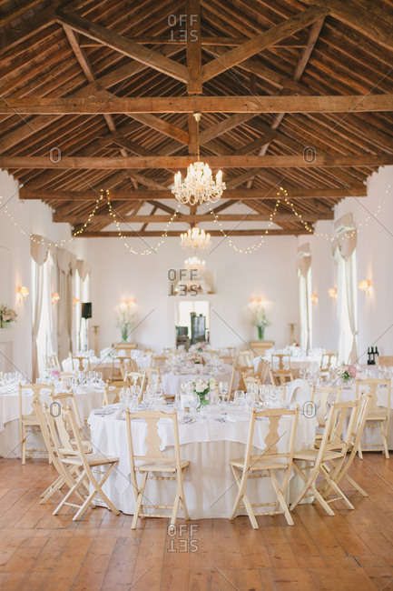 Decorated reception hall at wine estate in Mafra, Portugal