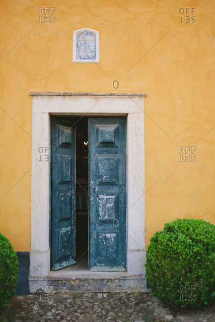 Exterior entrance to historic building at wine estate in Mafra, Portugal