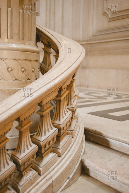 Banister of curving staircase