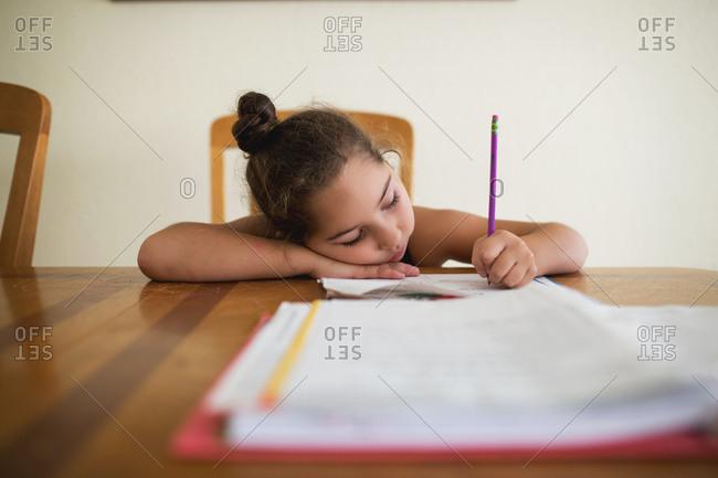 Girl does homework
