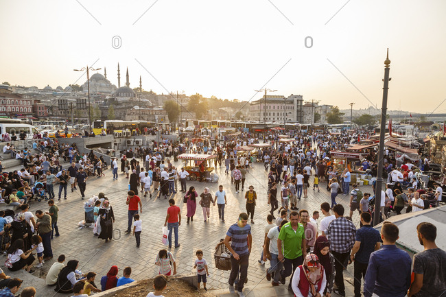 Istanbul, Turkey, Turkey - September 10, 2017: People at Eminonu square