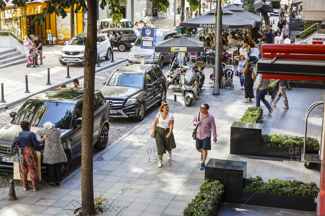 Istanbul, Turkey - September 14, 2017: Street scene in the upscale neighborhood of Nisantasi