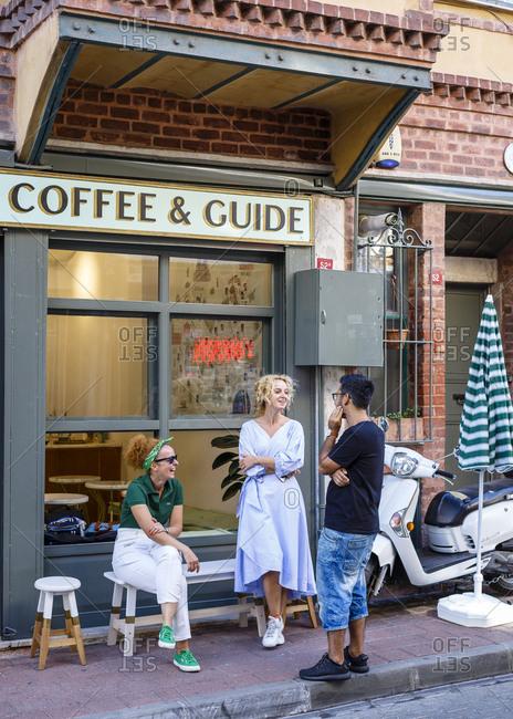 Istanbul, Turkey - September 14, 2017: Balat Coffee & Guide cafe in Balat