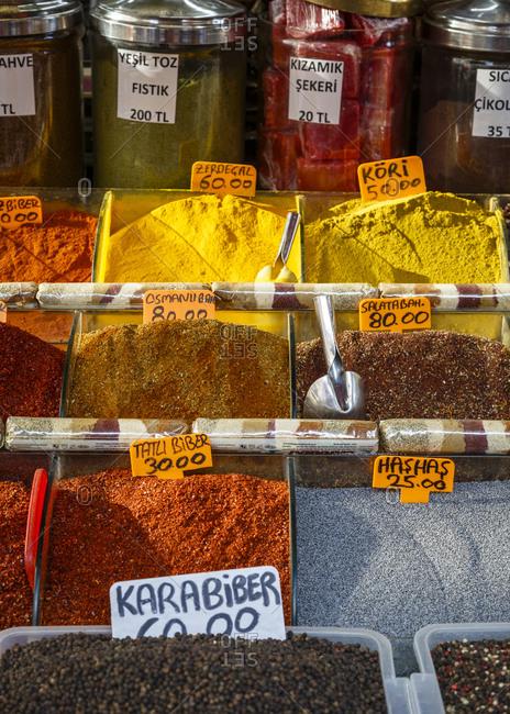 Istanbul, Turkey - September 15, 2017: Spices at the Eminonu Pazari market