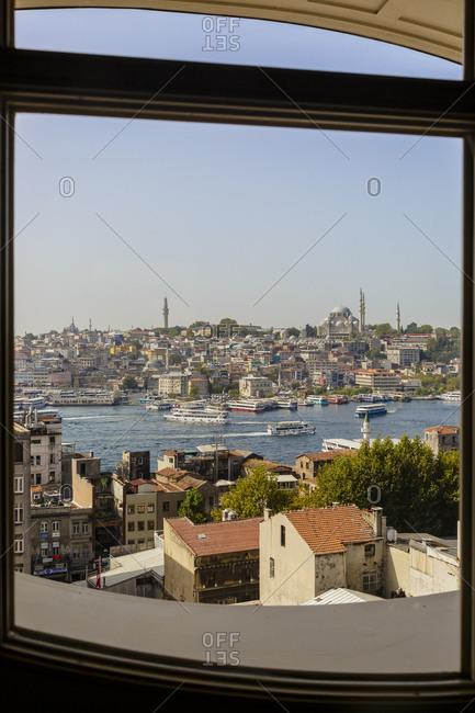 Istanbul, Turkey - September 12, 2017: Skyline of Istanbul with a view over the Golden Horn