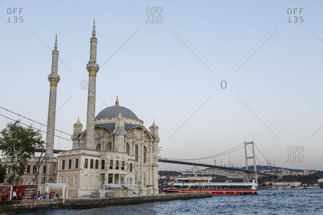Istanbul, Turkey - September 12, 2017: Ortakoy mosque and the Bosphorus bridge