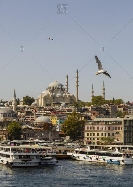 Istanbul, Turkey - September 12, 2017: View over the Eminonu and the Suleymaniye Mosque (Suleymaniye Camii)