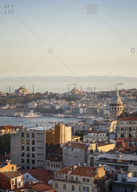 Istanbul, Turkey - September 13, 2017: Skyline of Istanbul with a view over the Golden Horn, the Galata Tower, Hagia Sophia and the Blue Mosque