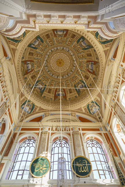 Istanbul, Turkey - September 12, 2017: Interior of the Ortakoy mosque