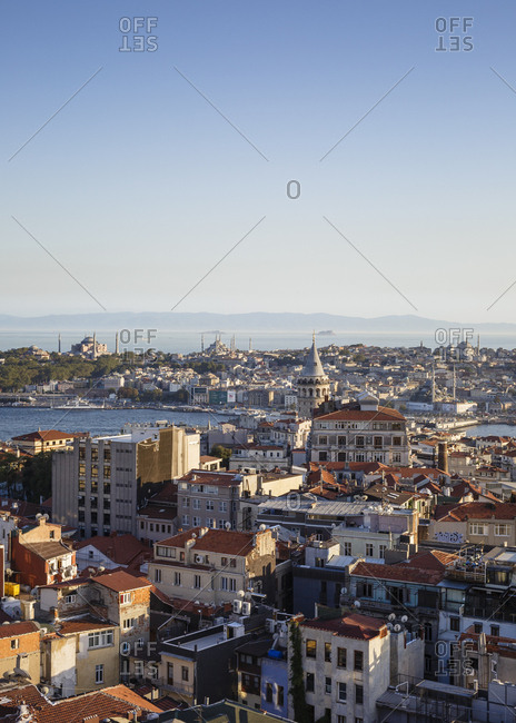 Istanbul, Turkey - September 13, 2017: Skyline of Istanbul with a view over the Golden Horn