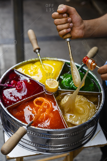 Macun, a sweet and colorful Turkish toffee paste, Istanbul, Turkey