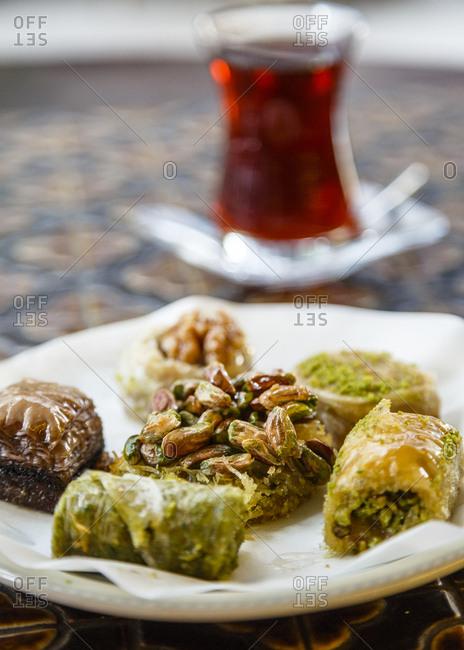 Baklava pastry and a cup of tea, Karakoy, Istanbul, Turkey