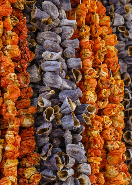 Dried Peppers and eggplants at the Kadikoy market, Istanbul, Turkey
