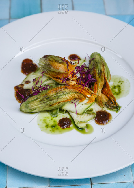 Courgette flowers with sardines and tamarind dish at restaurant, Istanbul, Turkey