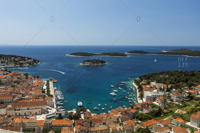 View of Hvar harbor from fortress walls