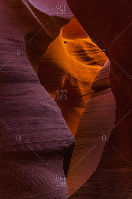 Erosion carved sandstone shapes in Antelope Canyon, a slot canyon on the Navajo Reservation in Page, Arizona