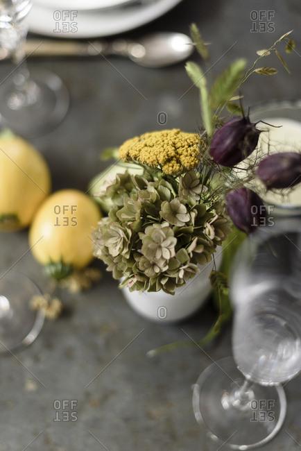 Close up of a floral arrangement in a flower shop