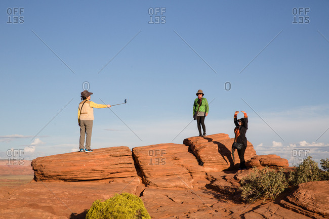 Page, Arizona, USA - September 14, 2017: Women posing for picture at Horseshoe Bend scenic viewpoint