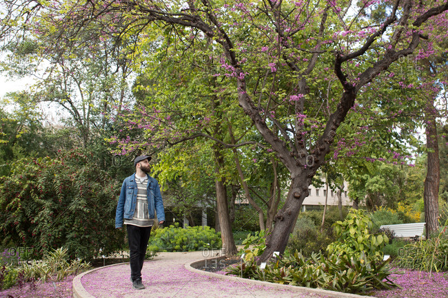 Young trendy male walking on pathway in beautiful park.