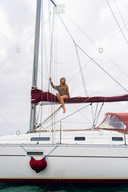 Woman on yacht in sea