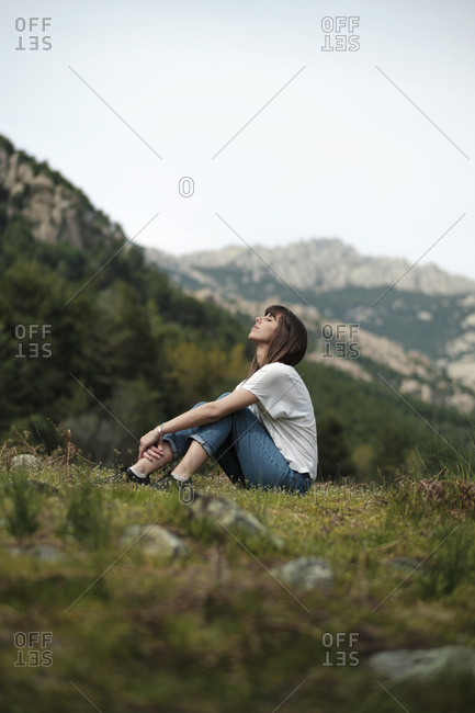 Woman posing on nature