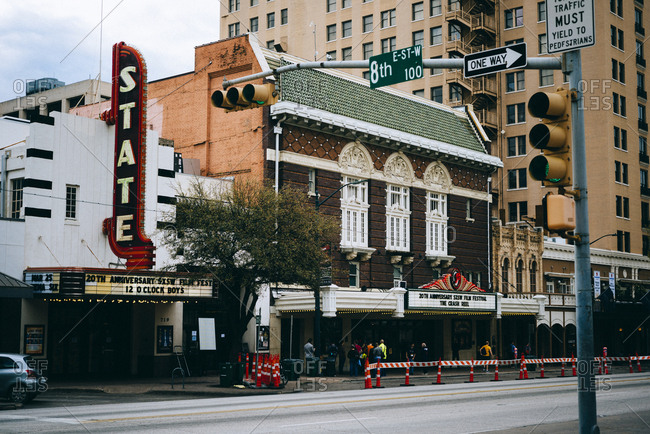 AUSTIN, TEXAS, USA - March 10, 2013: Beautiful view of street with building of cinema and billboards.