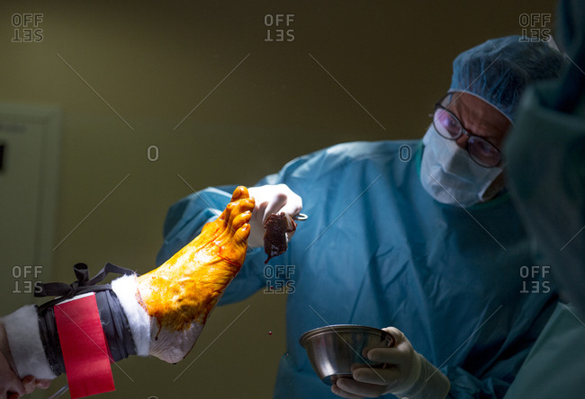 Doctor applying antiseptic on leg