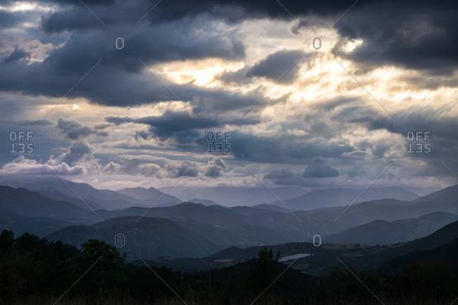 View to cloudy mountains