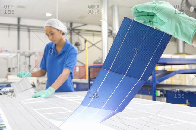 Technicians arranging solar cells to form solar panel on factory production line