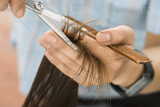 Hairdresser cutting woman's hair in salon, focus on hair, hands and scissors, close-up