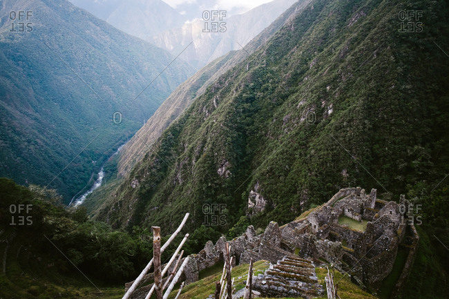 Ruins in valley of mountains, Peru