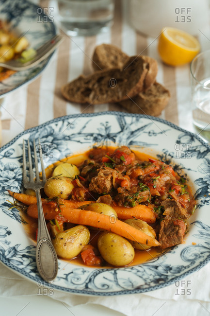 Vegetables and stew on plate