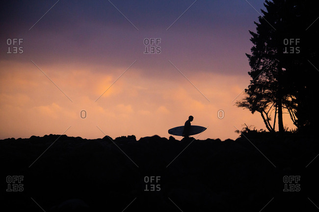 Silhouette of surfer carrying board at sunset