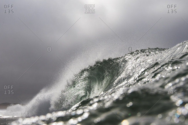 Sunlight on splashing waves