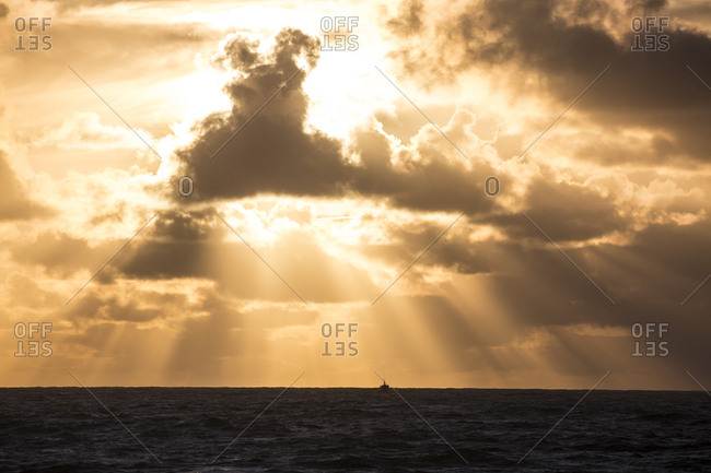 Golden sunlight over ocean