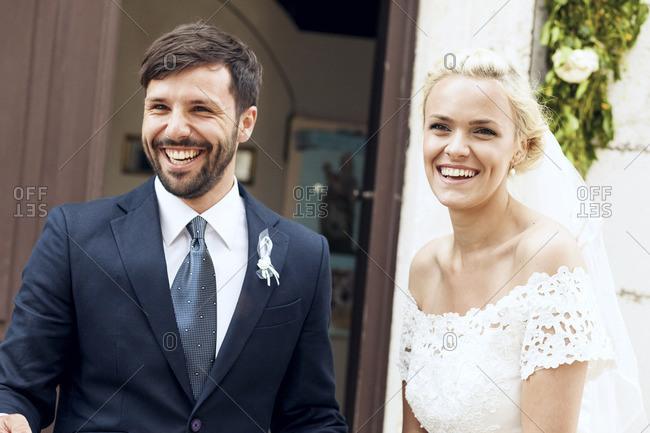Portrait of freshly married couple