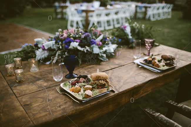 Dinner at wedding reception