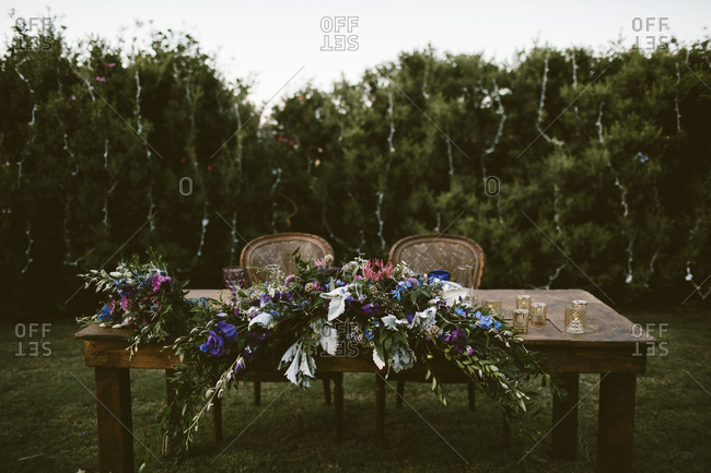 Head table at outdoor wedding