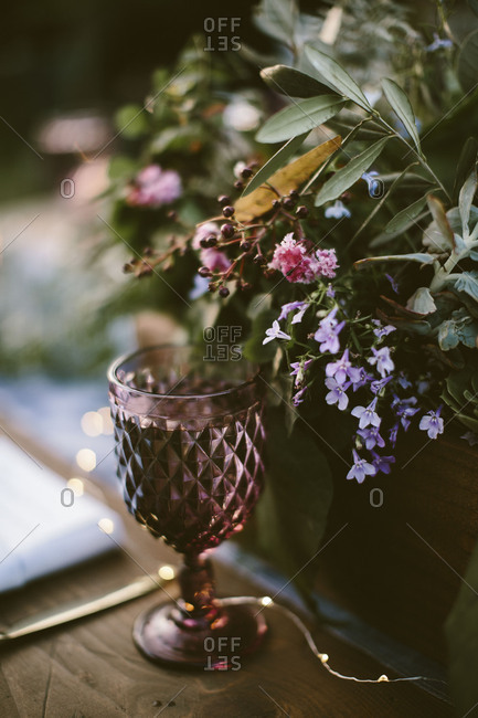 Glassware and centerpiece at wedding reception
