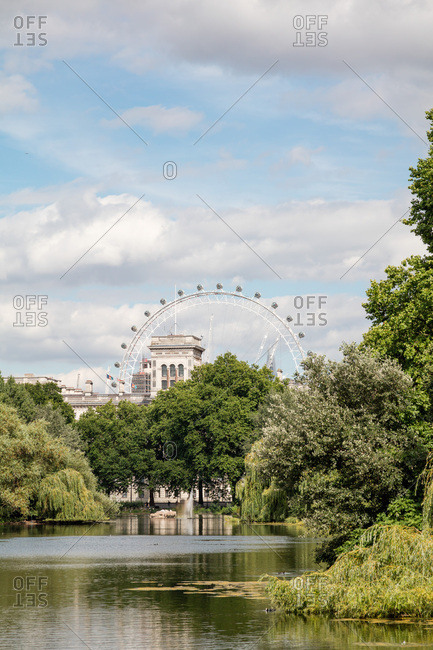 London, England, UK - July 14, 2017: St. James's Park and the Millennium Wheel