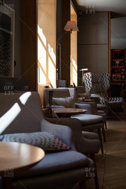 A luxury hotel lobby interior