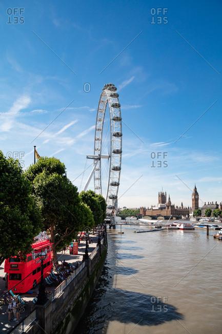 London, England, UK - July 17, 2017: The Millennium Wheel on the Thames