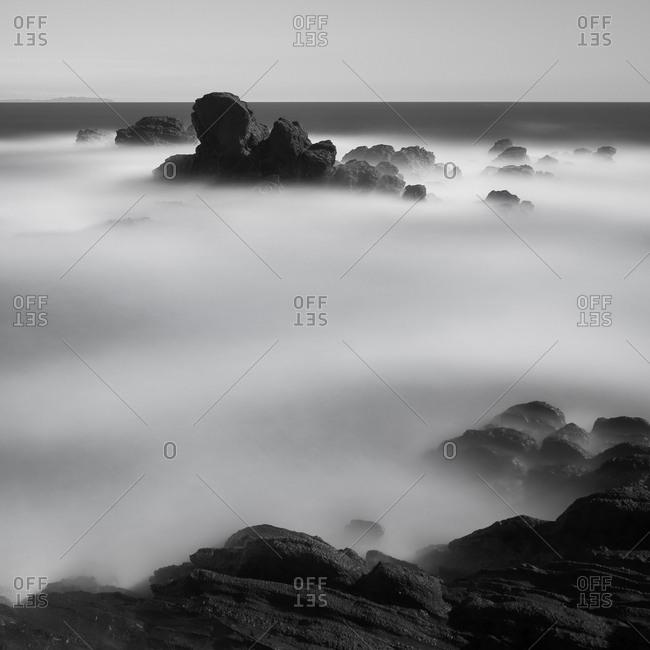 Long exposure of sea rocks and waves in Jogashima, Miura Peninsula, Japan