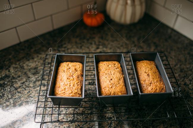 Three fresh baked loaves of bread