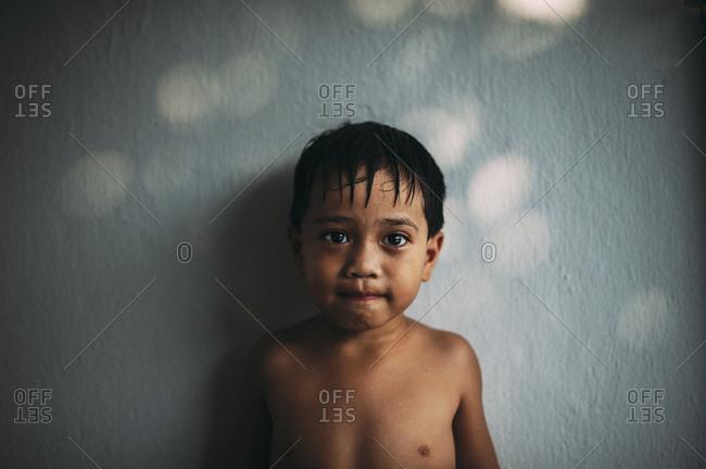 Little boy with wet hair