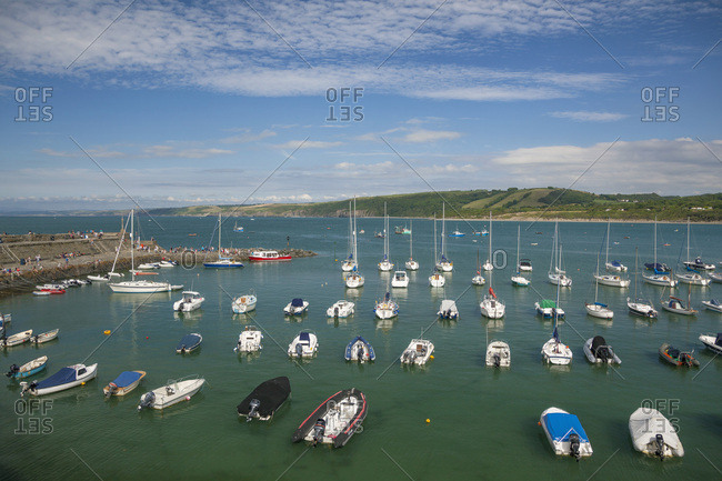 Ceredigion, West Wales, United Kingdom - July 21, 2014: New Quay with boats