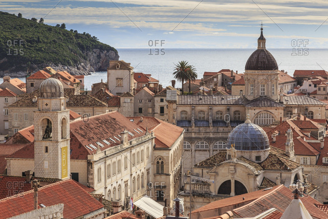 Dubrovnik, Dalmatia, Croatia - November 8, 2016: Historic Old Town, Cathedral, St. Blaise Church, Clock Tower and Rector's Palace, UNESCO World Heritage Site