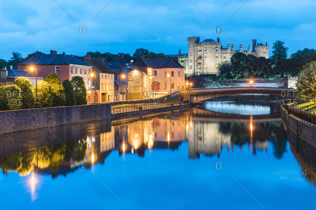Kilkenny, County Kilkenny, Leinster province, Republic of Ireland - May 27, 2017: Waterfront at night