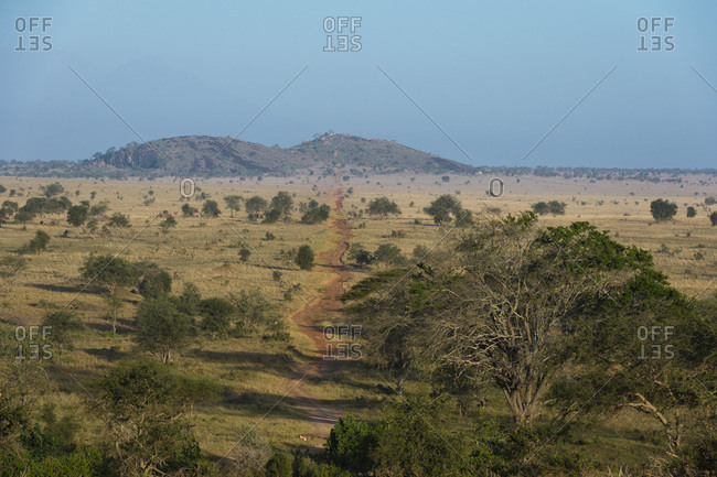 A view of the Lion Rock in Lualenyi Game Reserve, Tsavo, Kenya, East Africa, Africa