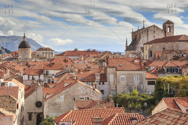 Spectacular Old Town view with unusual clouds, from City Walls, Dubrovnik, UNESCO World Heritage Site, Dalmatia, Croatia, Europe